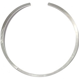 1pc Choker Metal Alloy Flat Round Silver 5mm Wide Ns626