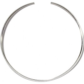 1pc Choker Metal Alloy Round Silver 4mm Wide Ns627