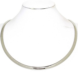 "1pc 17.5""-19.5"" 6mm Stainless Steel Omega Necklace Choker Ns631"