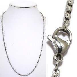 "20"" 2mm Stainless Steel Chain Necklace Lobster Claw End Ns636"