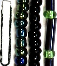 "1pc 18"" Bead Cord Black Aura Borealis Lobster Claw End Ns81"