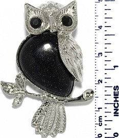 Owl Branch Silver Metallic Black Quartz Stone Pendant PD004