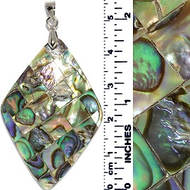 Abalone Pendant Rhombus Square Tiles Multi Color Green PD021