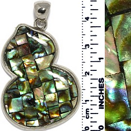 Chinese Gourd Square Tiles Abalone Pendant Multi Green PD023
