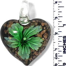 Glass Pendant Heart Flower Gold Black Green PD027