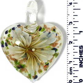Glass Pendant Heart Flower White GreenBlueGold Lt Yellow PD029