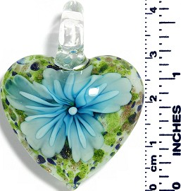 Glass Pendant Heart Flower White GreenBlueGold Turquoise PD032