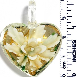 Glass Pendant Heart Flower Clear Green Light Yellow PD038