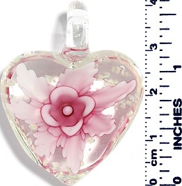 Glass Pendant Heart Flower Clear Pink Magenta PD041
