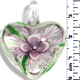 Glass Pendant Heart Flower Clear Green Lavender Purple PD042
