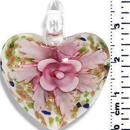 Glass Pendant Heart Flower White GreenBlueGold Pink PD045