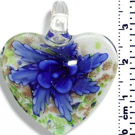 Glass Pendant Heart Flower White Green Gold Blue PD047