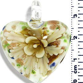 Glass Pendant Heart Flower White GreenBlueGold Lt Yellow PD048