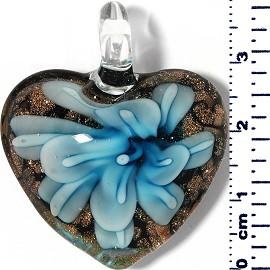 Glass Pendant Heart Flower Black Gold Turquoise PD051