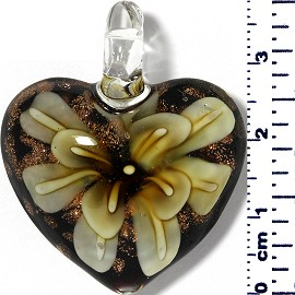 Glass Pendant Heart Flower Black Gold Light Yellow PD054