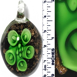Glass Pendant Oval Flower Gold Black Green PD066