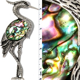 Abalone Pendant Heron Bird Multi Color Green Metallic Tone PD096