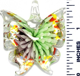 Glass Pendant Flower Butterfly Clear Lavender Green PD1041