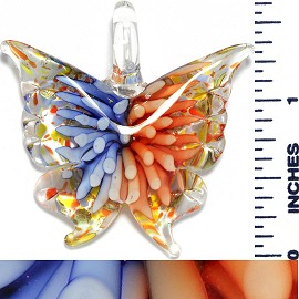 Glass Pendant Flower Butterfly Clear Blue Orange PD1045