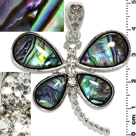 Abalone Pendant Dragonfly Silver Green PD1058