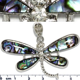 Abalone Pendant Dragonfly Silver Green PD1059