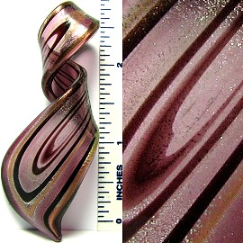 Purple Long Twisted Leaf Glass Pendant PD1064