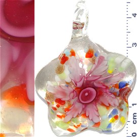 Glass Pendant Flower Round Star Clear Pink PD1093