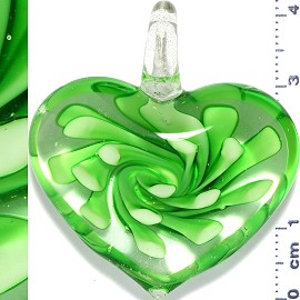 Glass Pendant Flower Big Heart Clear Green PD1104