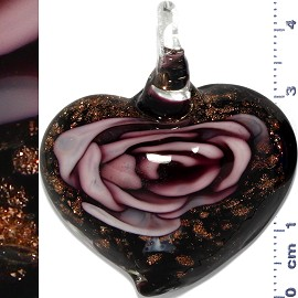 Glass Pendant Flower Heart Black Gold Lavender PD1111