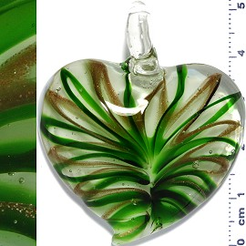 Glass Pendant Heart Lines Clear Gold Green PD1129