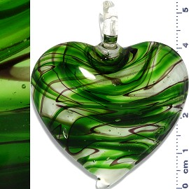 Glass Pendant Heart Clear Green PD1133