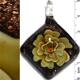 Glass Pendant Flower Square Black Gold Dark Yellow PD1137