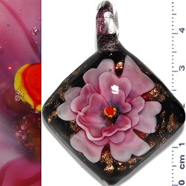 Glass Pendant Flower Square Black Gold Pink PD1140