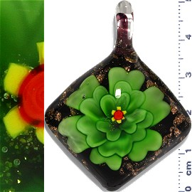 Glass Pendant Flower Square Black Gold Green PD1141