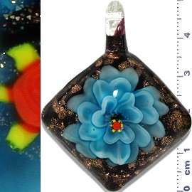 Glass Pendant Flower Square Black Gold Turquoise PD1142