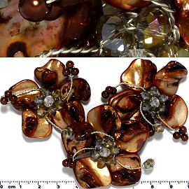Shell Crystal Pendant Square Flower Brown Tan PD1147