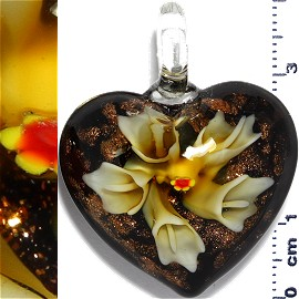 Glass Pendant Flower Heart Gold Black Yellow PD1189