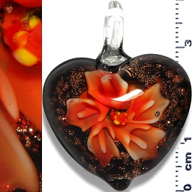Glass Pendant Flower Heart Gold Black Orange PD1190