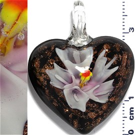 Glass Pendant Flower Heart Gold Black Pink White PD1191