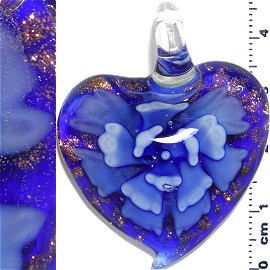 Glass Pendant Flower Heart Gold Blue Purple PD1193