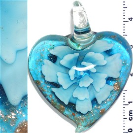 Glass Pendant Flower Heart Gold Turquoise PD1195