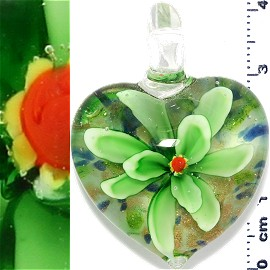 Glass Pendant Flower Heart Gold White Green PD1213