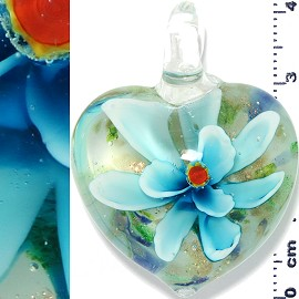 Glass Pendant Flower Heart Gold White Turquoise PD1214