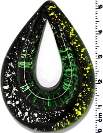 Glass Pendant Final Sale Oval Point Black Green PD1233