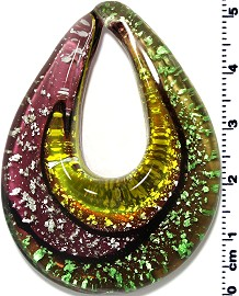 Glass Pendant Final Sale Oval Point Purple Green Yellow PD1236