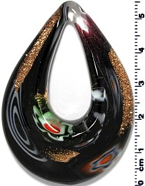 Glass Pendant Final Sale Oval Point Black Multi PD1240