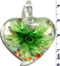 Glass Pendant Flower Heart Clear Green PD1244