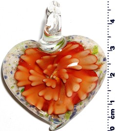 Glass Pendant Flower Heart White Orange PD1248