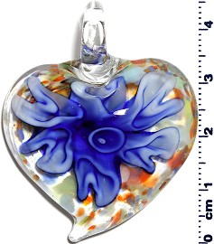 Glass Pendant Flower Heart Clear Blue PD1250