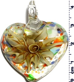 Glass Pendant Flower Heart Clear Dark Yellow PD1251